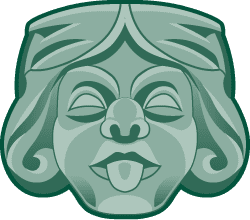 transparent green illustration of a jester grotesque face