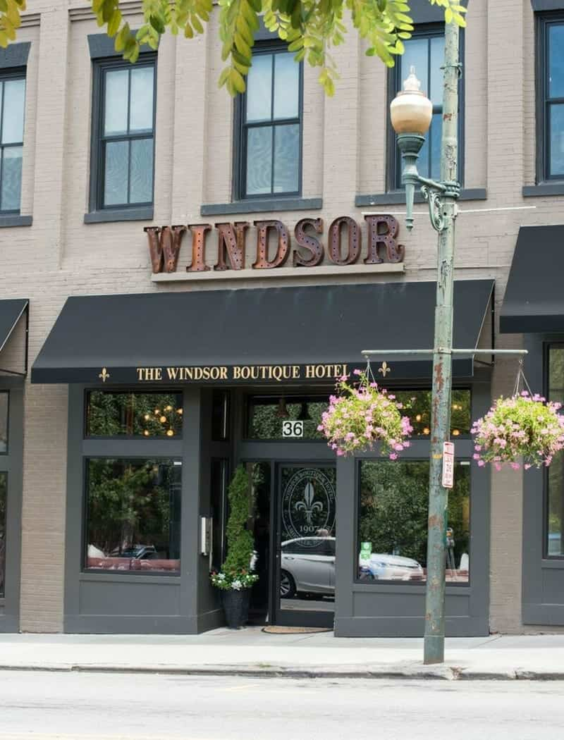 front entrance of the windsor boutique hotel