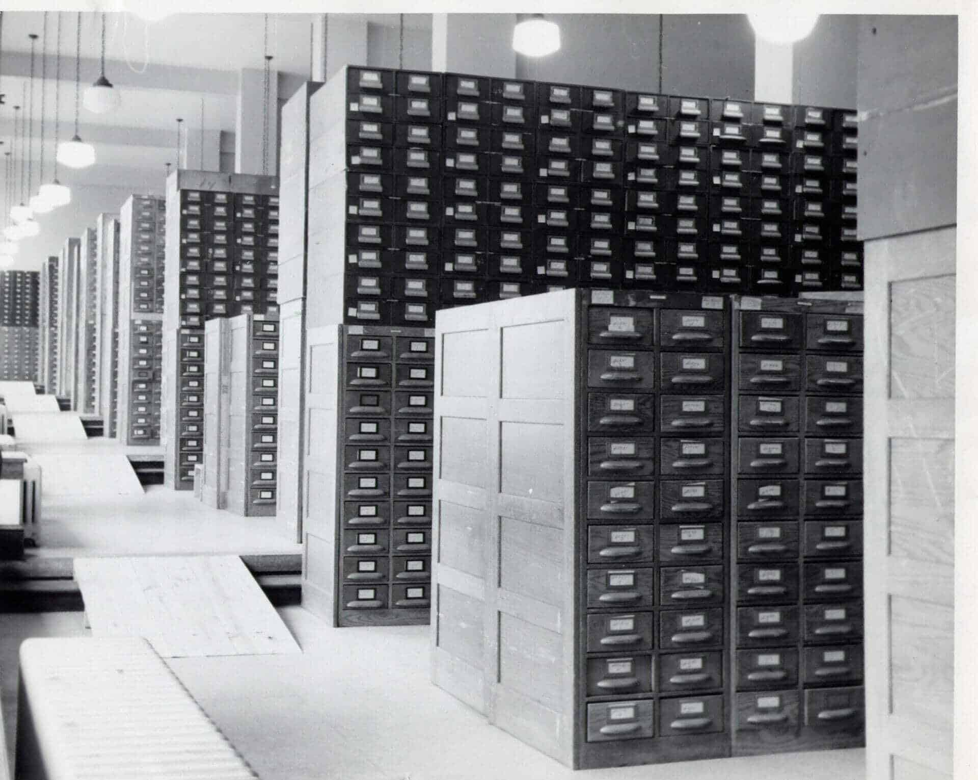 black and white vintage photograph of file cabinets