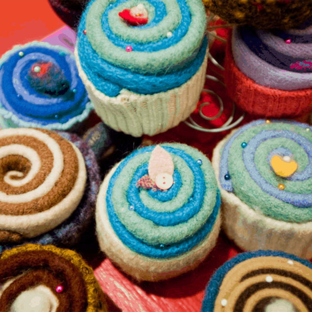 specialty yarn cupcakes made by asheville nc home crafts in grove arcade