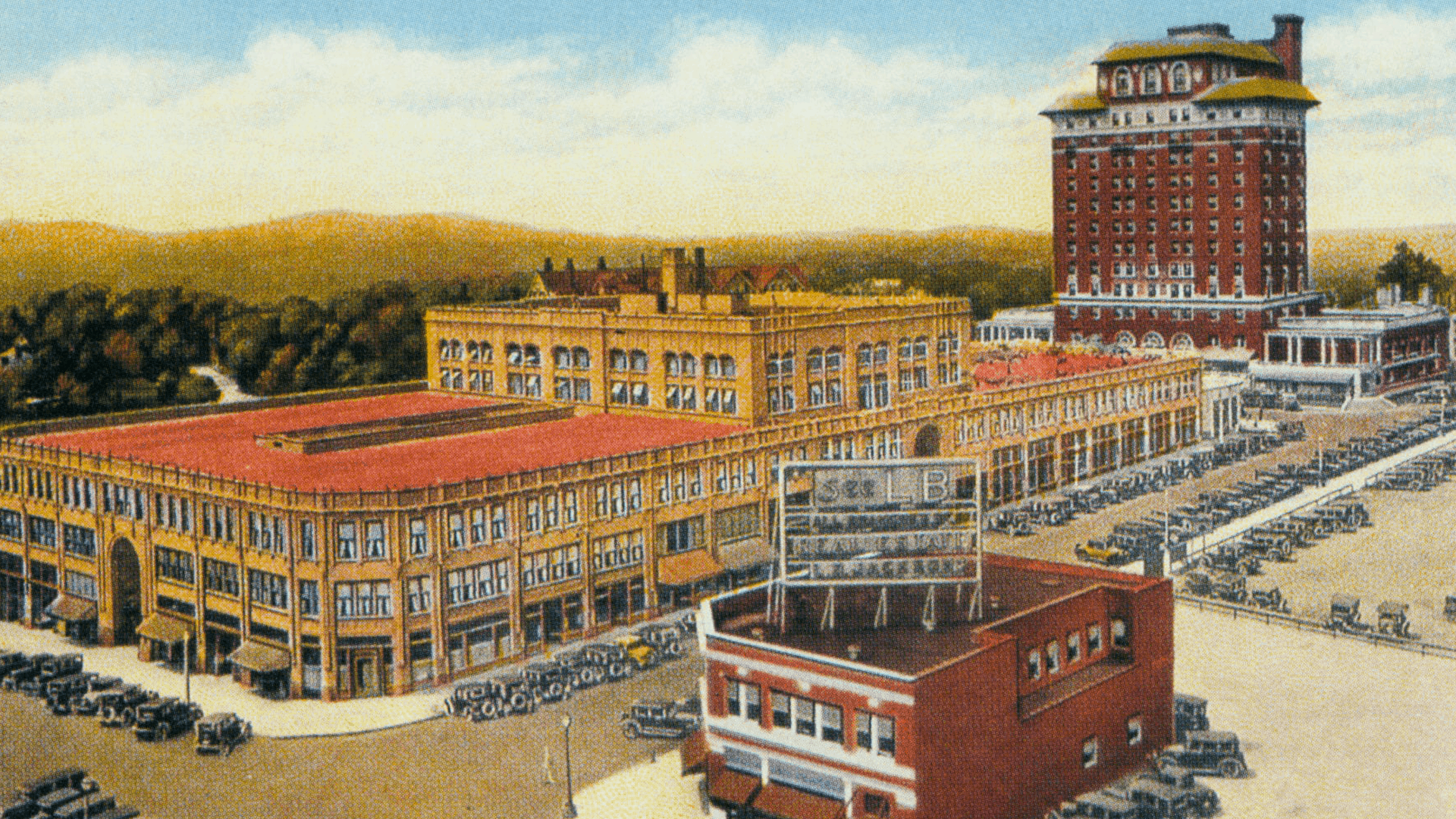 historical postcard of grove arcade after opening
