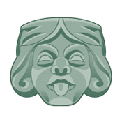 green illustration of a grotesque face with its tongue sticking out