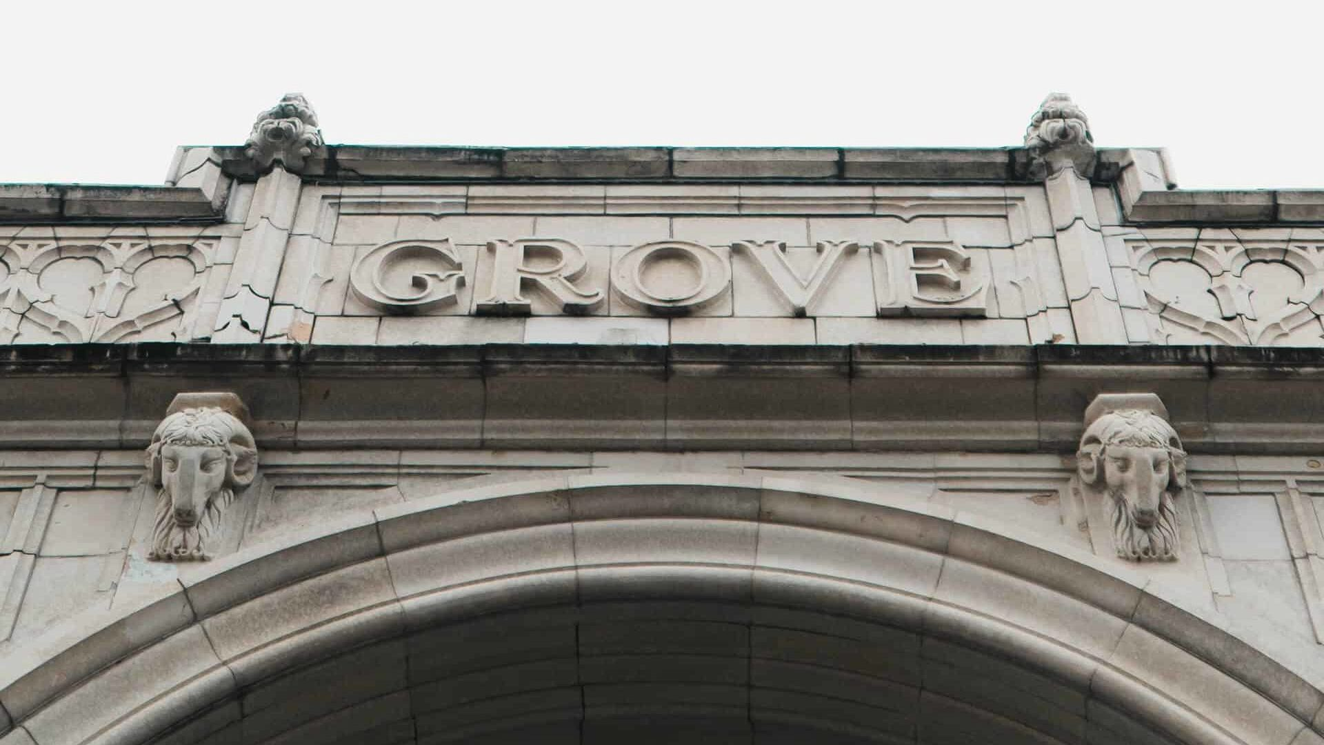 photo of grove arcade arch looking up