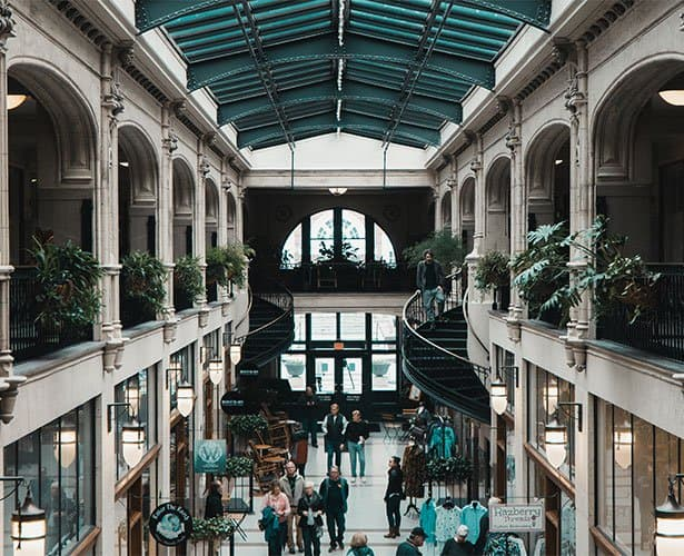 grove arcade hallway with downtown asheville shops and services
